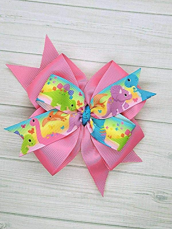 "dinosaur Theme Hair bow set 2 x 3.5/"" bobbles 2 x 2/"" clips 2 items add to basket"