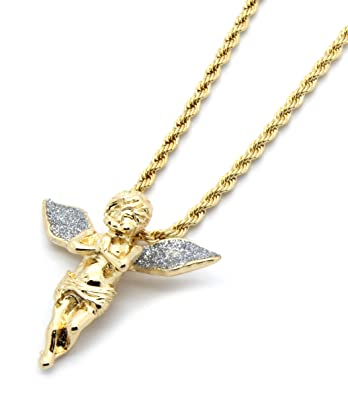 Mens gold tone stardust long wings angel pendant hip hop with 4mm 24 mens gold tone stardust long wings angel pendant hip hop with 4mm 24 rope chain amazon aloadofball Choice Image