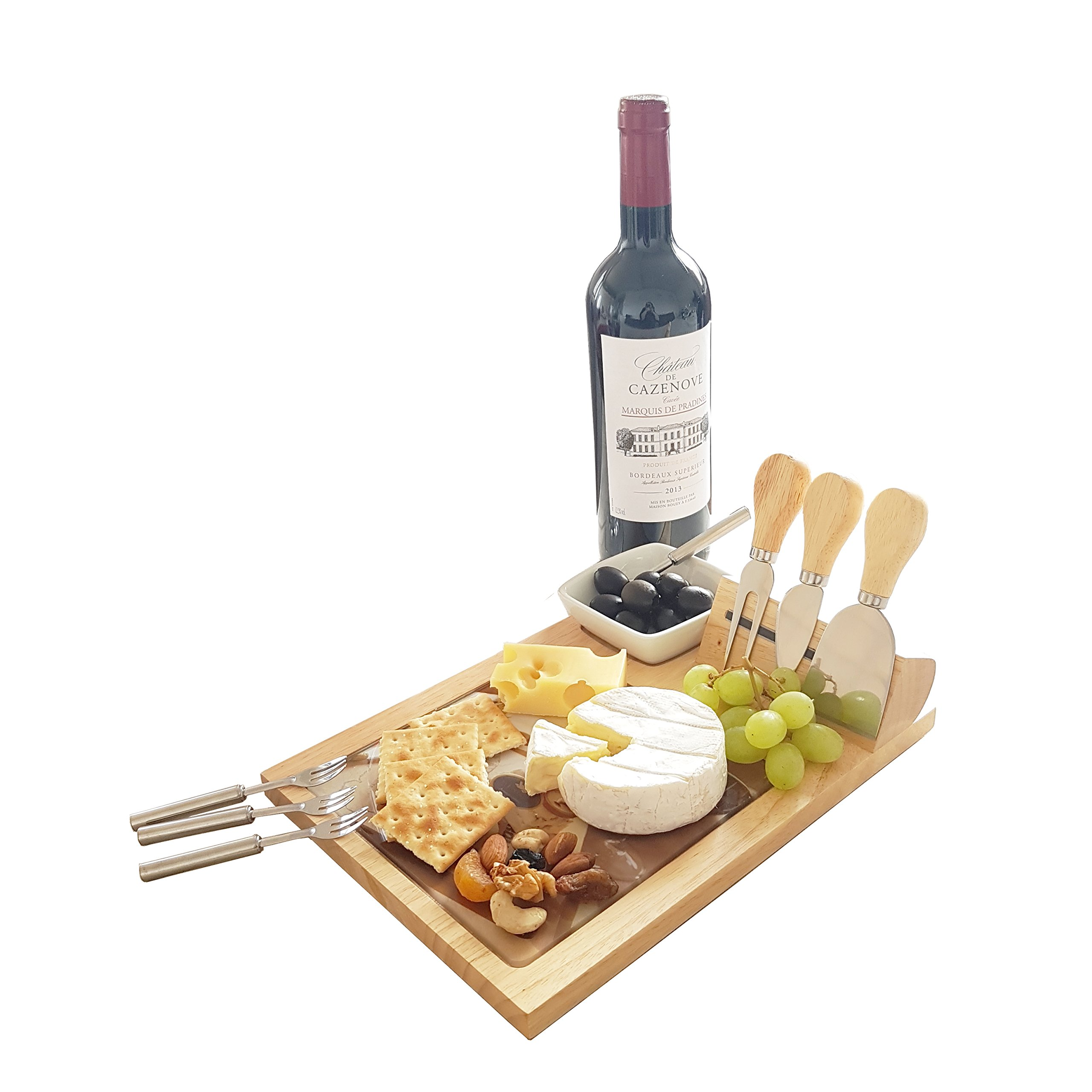 Premium Wood Cheese Board & Cutlery Knife Set with Tempered Glass Cutting Board and 4 pcs Stainless Steel Knives and Ceramic Bowl and 4 Mini Forks
