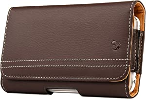 Cell Phone Holster Pouch with Belt Clip for iPhone 12 Pro, 12, 11, 11 Pro, XR, XS, 8, X (Matte Brown)