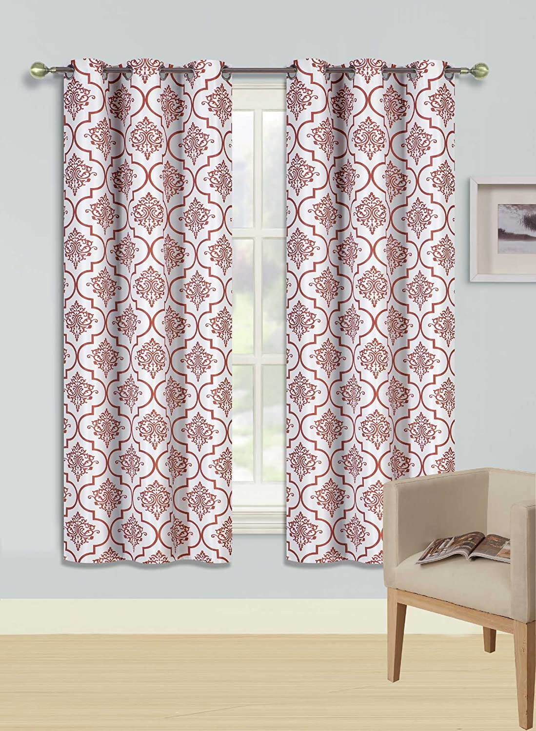 """GorgeousHomeLinen (F'S) 1 Panel 2 Tone Printed Design Room Darkening Thermal Blackout Window Curtain 63"""" or 84"""" Long, 3 Different Designs (63"""" Length, Lana-Rust)"""