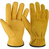 OZERO Leather Work Gloves Flex Grip Tough Cowhide Gardening Glove for Wood Cutting/Construction/Truck Driving/Garden…