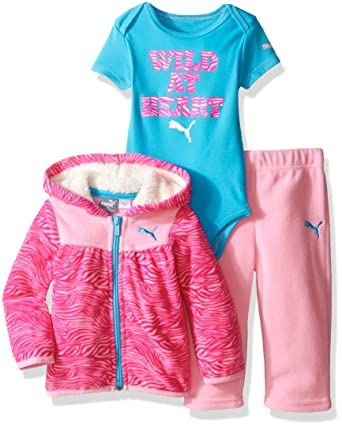 c38e523b81477 Amazon.com: PUMA Baby Girls' 3-Piece Hoodie, Bodysuit, Pant Set ...