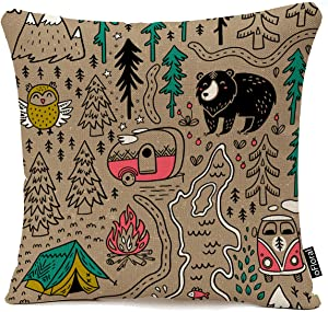 oFloral Throw Pillow Cover Camp Funny Map with Nature Landscape Camping and Cute Animals in The Forest Fox Decorative Pillow Case Home Decor Square 18x18 Inches Pillowcase