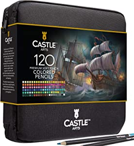 Castle Art Supplies 120 Colored Pencils Zip-Up Set perfect for all artists. Smooth, quality color cores and coloring pencils for blending & layering in convenient, strong travel case