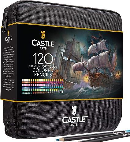 Castle Art Supplies - Set de 120 piezas de lápices de colores con cremallera para todos los