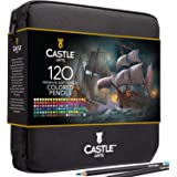 Castle Art Supplies 120 Colored Pencils Zip-Up Set perfect for all artists. Smooth, quality color cores and coloring…