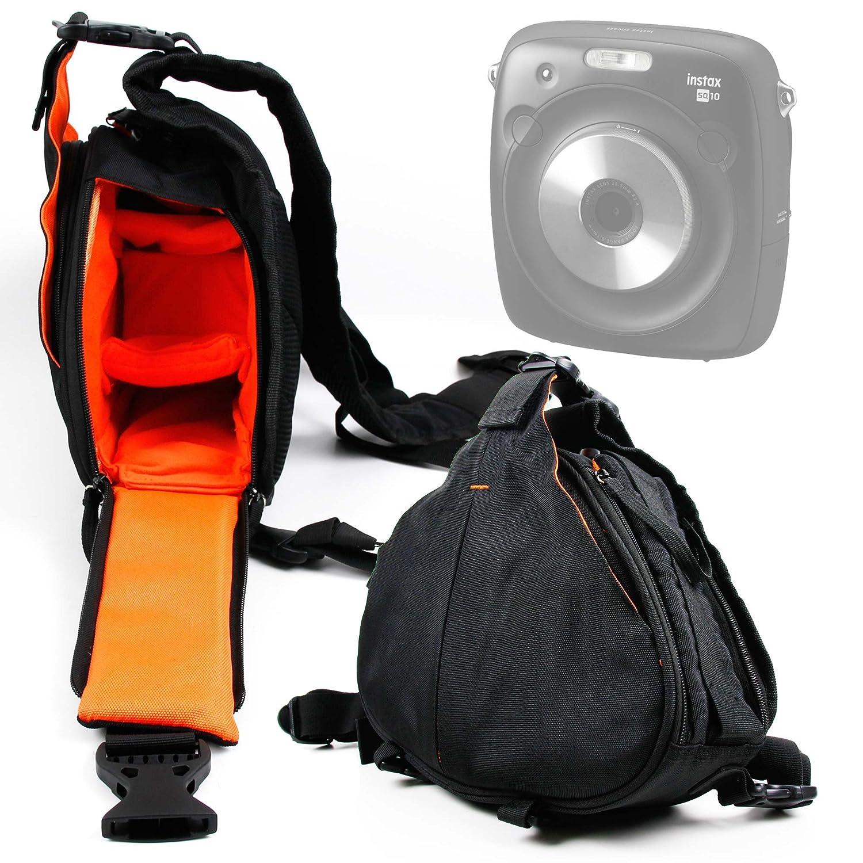 DURAGADGET デラックス三角形「スリング」キャリーバッグ ブラック&オレンジ Uscamel 20-60x60に対応   B079NZLSMG