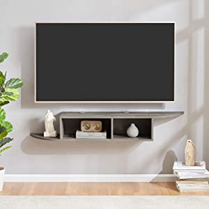 Sunon Floating TV Stand Wall Mounted Entertainment Center Media Console (Grey)