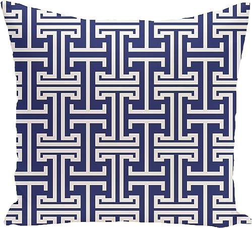E by design Greek Isles Geometric Print Pillow, 18-Inch Length, Blue Suede