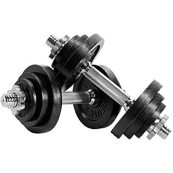 Gorilla Sports® Juego de Pesas Ajustable de Hierro Fundido 22 kg ...