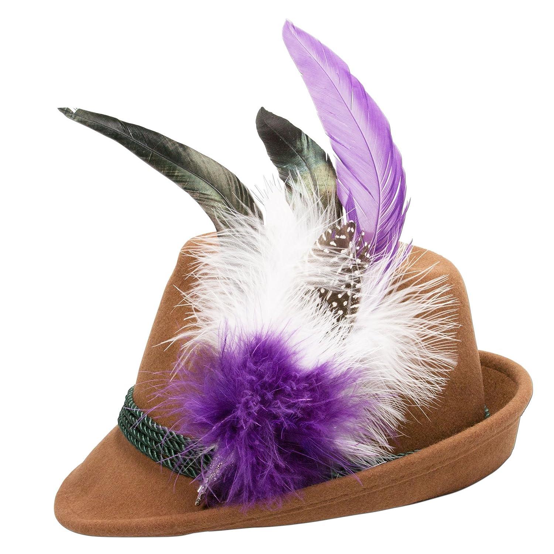 Alpenflüstern Damen Filzhut Trachtenhut braun mit Hutfeder Farbenfroh ADV07500M70 lila