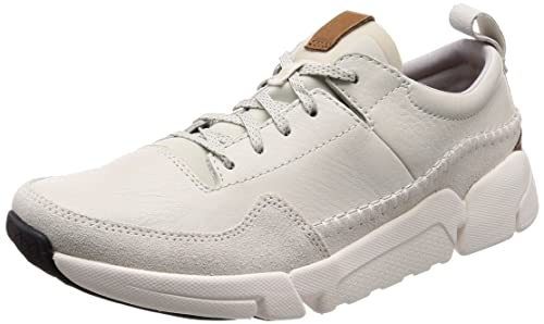 Mens Triactive Run Trainers, White (White Leather), 7 UK Clarks