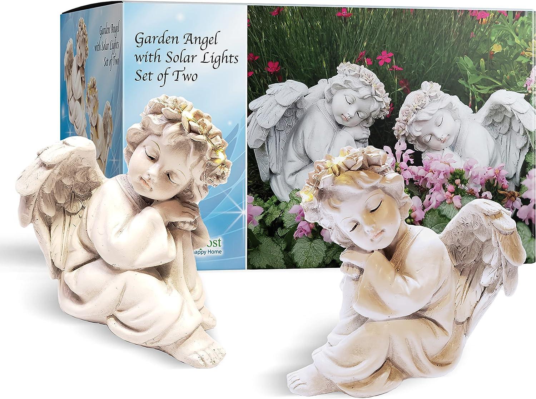 HAPPY COMPOST 2 Angel Solar Light Garden Statues 6