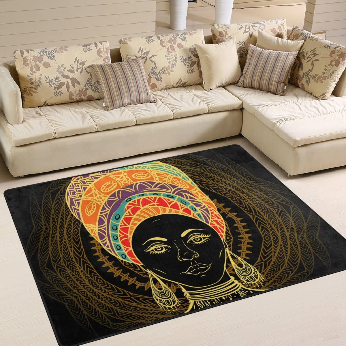 SAVSV Large Area Rugs African Woman in Turban Printed,Lightweight Water-Repellent Floor Carpet for Living Room Bedroom Home Deck Patio,6 8 x 4 10