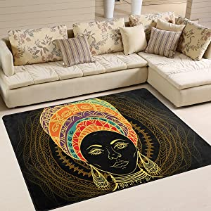 Large Area Rugs African Woman in Turban Printed,Lightweight Water-Repellent Floor Carpet for Living Room Bedroom Home Deck Patio,6'8