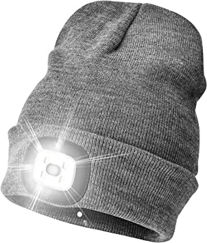 USB Rechargeable LED Beanie Hat Head Light Camping Walking Cycling Warm Knit Cap