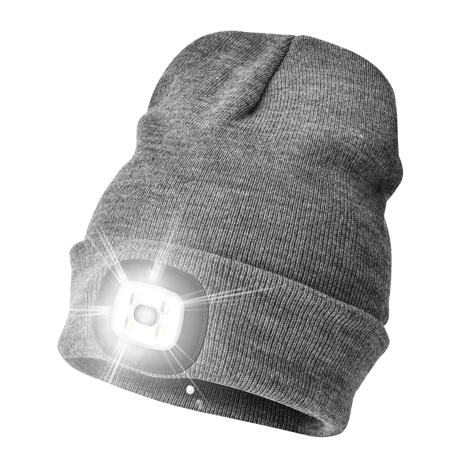 WEITOO Unisex Bright Knit 4 LED Beanie Hat with Light USB Rechargeable Hands Free Lighted Headlamp Torch Cap