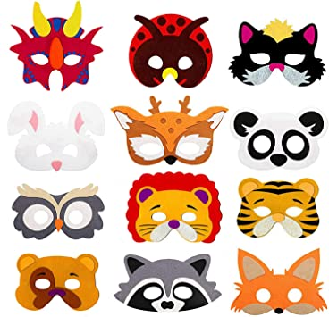 Amazon.com: Máscaras de animales para fiesta de niños – 12 ...