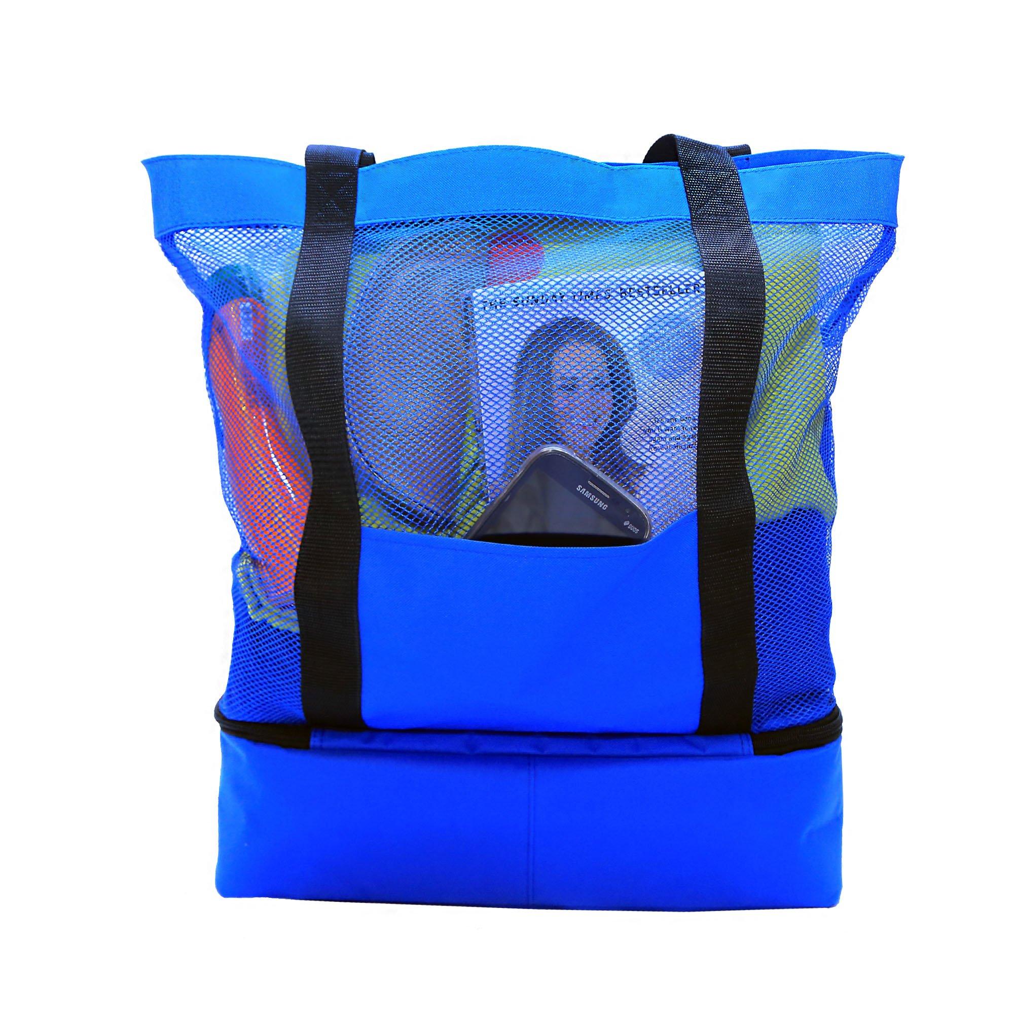 JU&JI's Beach Tote Bags – 2-in-1 Design – Mesh Bag & Built-in Picnic Cooler Compartment – Big or Extra Large Cooler Beach Bags – Padded Handle, Waterproof Zipper & Heavy-Duty Build by Ju&Ji (Image #6)