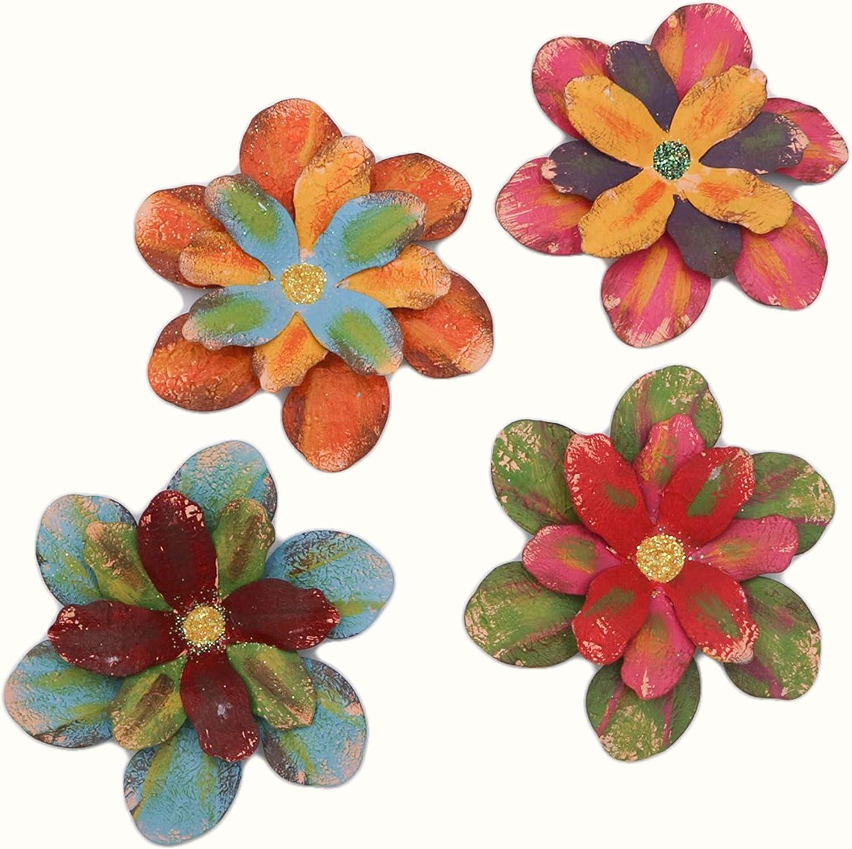 Tryer Vintage Farmhouse Flower Rose Bud Refrigerator Magnets for Kitchen Garden Decoration-4pcs (MG/FU/BB/OR) (Creative)