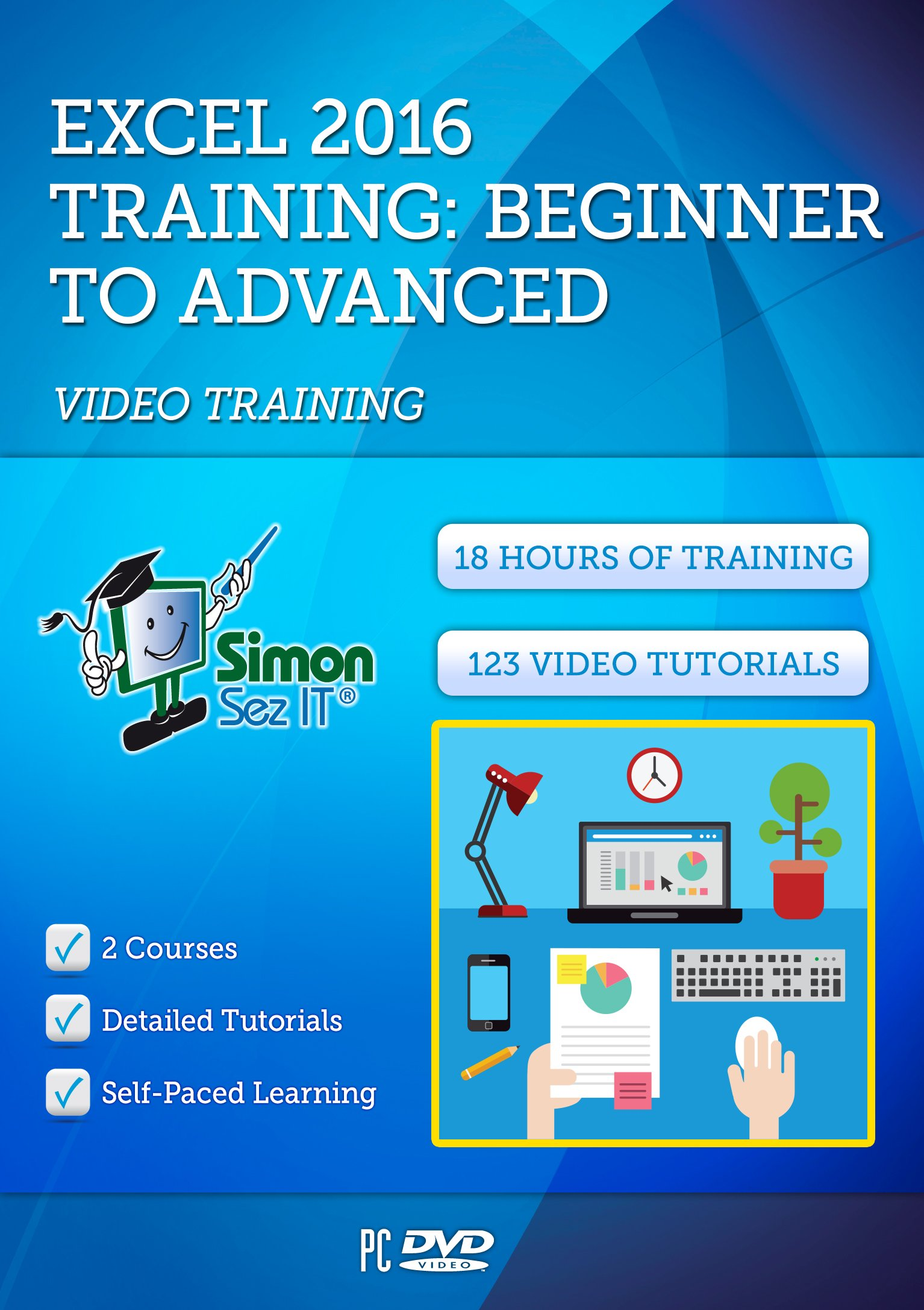 Excel 2016 Training Course by Simon Sez IT: 2 Self-Paced Software Courses For Absolute Beginners - Video Tutorials & Lectures By A Professional Instructor - Exercise Files Included by Simon Sez IT