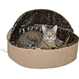 Leopard Deluxe Heated Hooded Cat Bed