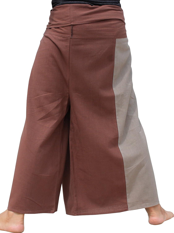 Raan Pah Muang Brand Thick Cotton Two Color Plain Samurai Wrap Pants