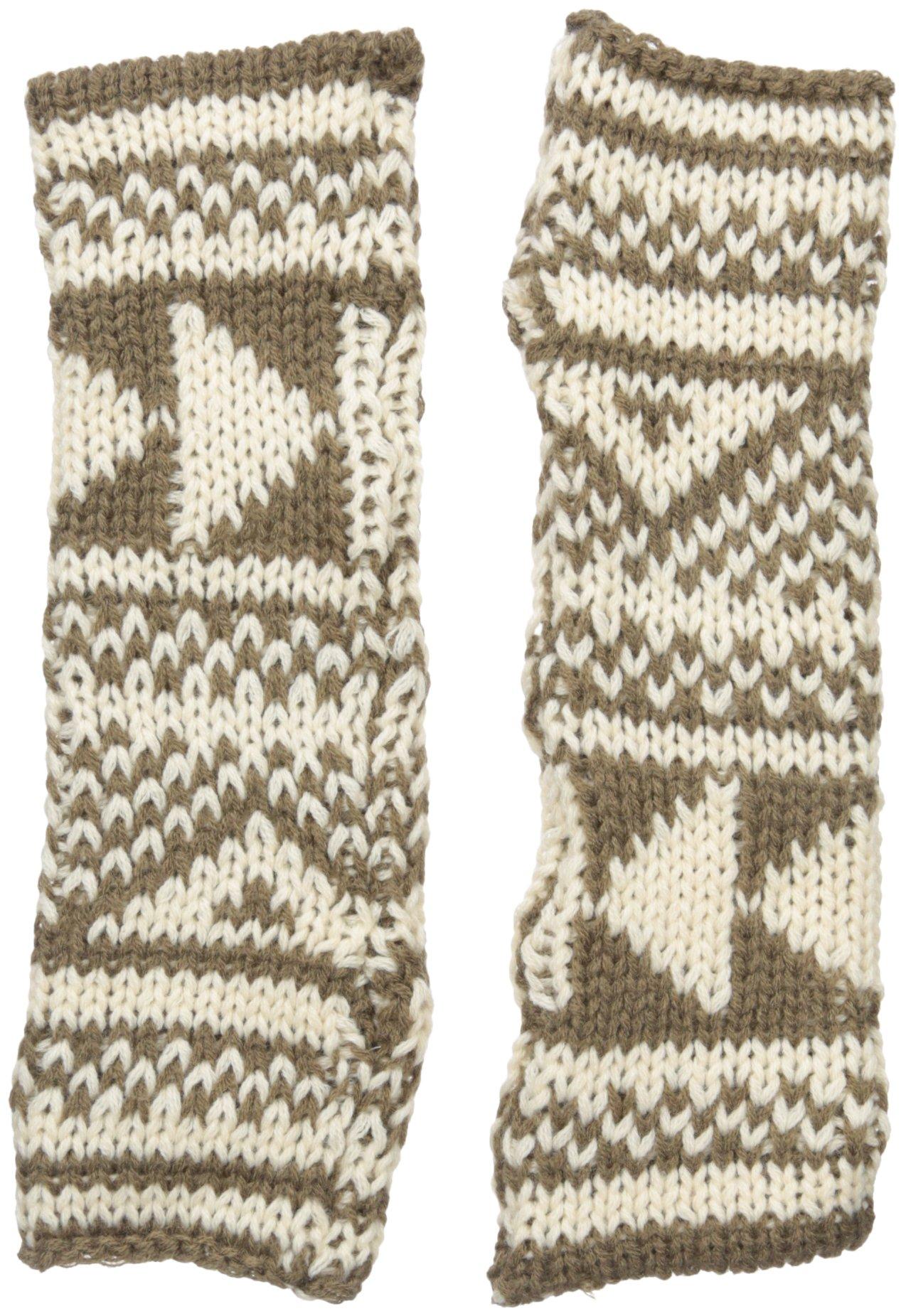 Woolrich Women's Geometric Arm Warmers Gloves Mittens, Warm Khaki/Wool Cream, One Size
