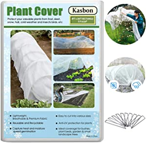 Kasbon Plant Covers Freeze Protection & Plant Blanket Fabric 8Ft x 26Ft Rectangle Plant Cover for Winter Frost Protection & Plant Growth Season(Includes 6pcs Garden Stakes)