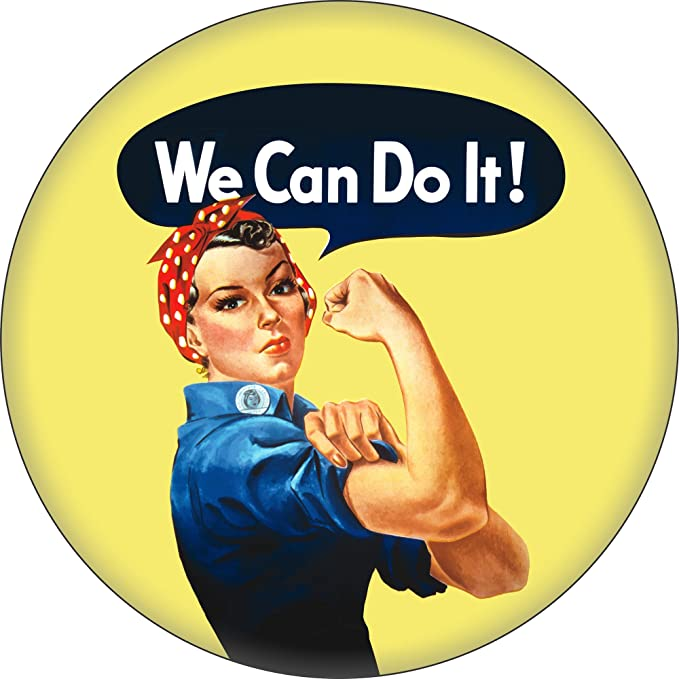 Rosie the Riveter Costume & Outfit Ideas Rosie The Riveter - We Can Do It! - 1.25 Round Button $4.99 AT vintagedancer.com