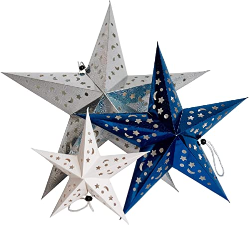 Time Away Paper Star Lantern Decorations – 1 Large Metallic Silver Star, 1 Medium Metallic Star and 1 Small White Star with LED Lights