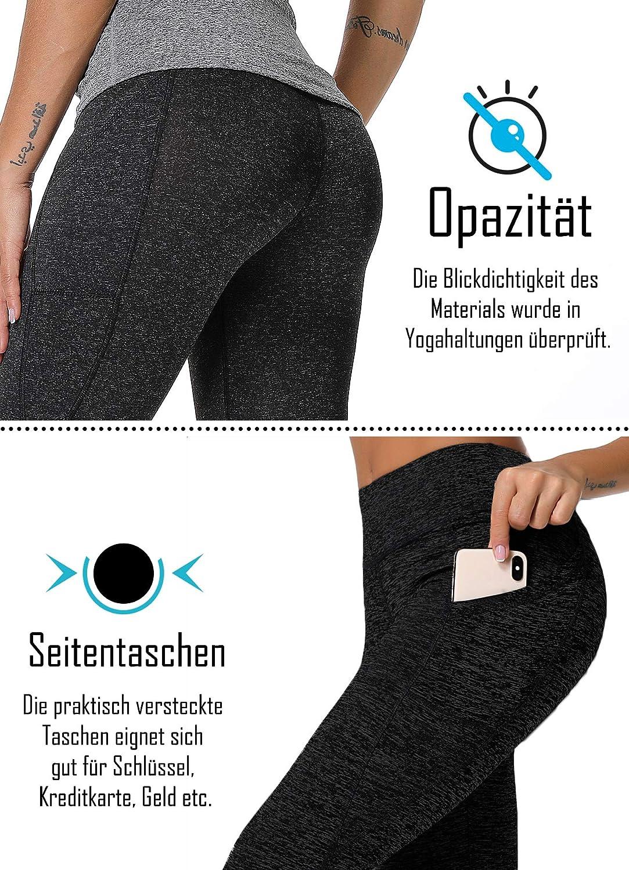 INSTINNCT Damen Doppeltaschen Sport Leggings 3//4 Yogahose Sporthose Laufhose Training Tights mit Handytasche