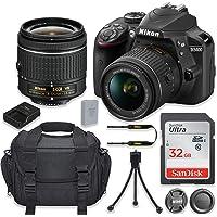 Nikon D3400 24.2MP DSLR Camera with Nikon AF-P DX 18-55mm f/3.5-5.6G VR Lens + 32GB High Speed Memory Card + Camera Carrying Bag + Tripod (Certified Refurbished)
