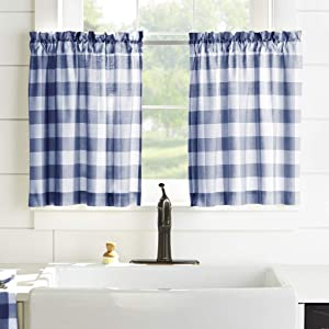"Elrene Home Fashions Farmhouse Living Buffalo Check Window Kitchen Tier Set, 30"" x 36"" (Set of 2, Blue/White, 2 Pieces"