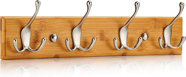 LARHN Perchero Pared Madera - 4 Colgadores Triples Montados en Tablero de Bambú – 42 cm