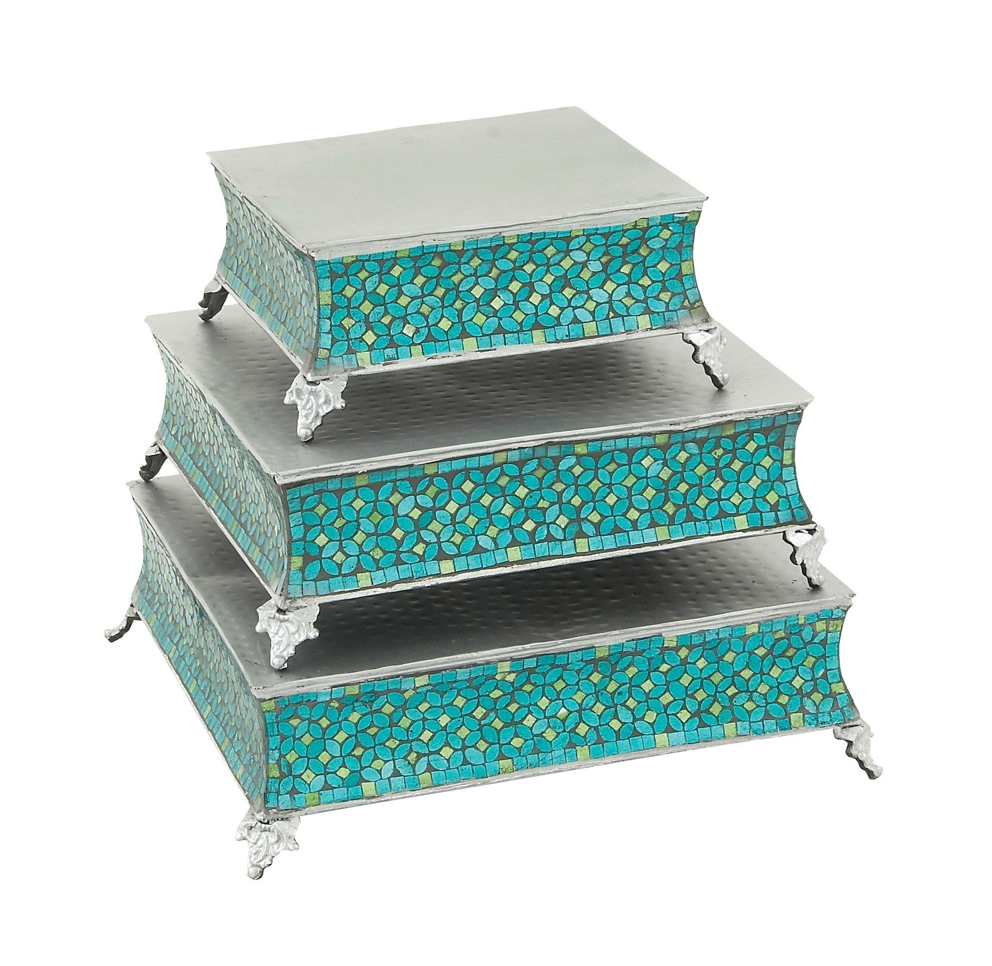 Deco 79 23982 Metal & Mosaic Cake Stand Set of 3