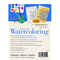 Strathmore (704-22-1) Designs for Watercoloring 140 lb. Cold Press Pad, Flower, 8 Sheets
