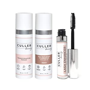 CULLER BEAUTY Ultimate Beauty Package, Primer, Foundation, with Free Lash Enhancer, Instantly Smooth and Match Skin Tone (Medium)
