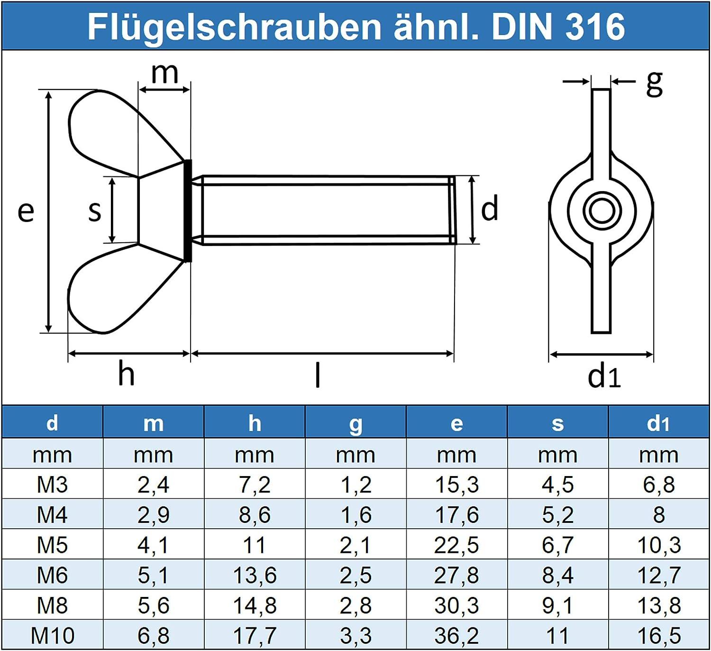 Edelstahl A2 V2A DIN 316 5 St/ück Form /ähnl Gewindeschrauben rostfrei Eisenwaren2000 - Fl/ügel Schrauben amerik Fl/ügelschrauben M8 x 25 mm