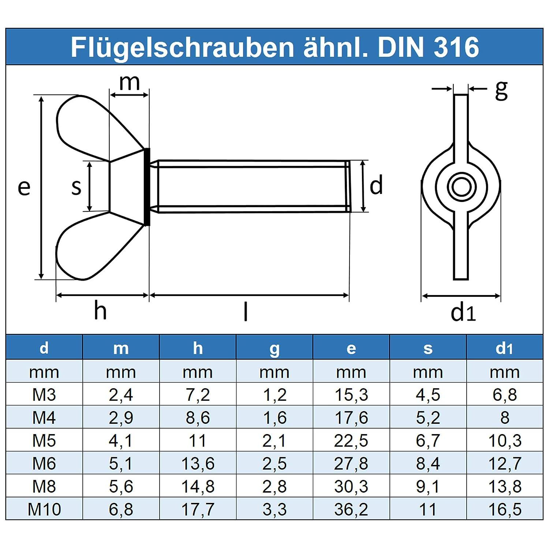 Eisenwaren2000 - Fl/ügel Schrauben amerik rostfrei Gewindeschrauben DIN 316 Form /ähnl 10 St/ück Edelstahl A2 V2A Fl/ügelschrauben M10 x 25 mm