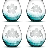 Integrity Bottles Crackle Teal Wine Glasses Made in USA Sand Carved Set of 2 Hand Etched 14.2oz Stemless Gifts Plumerias With Leaves
