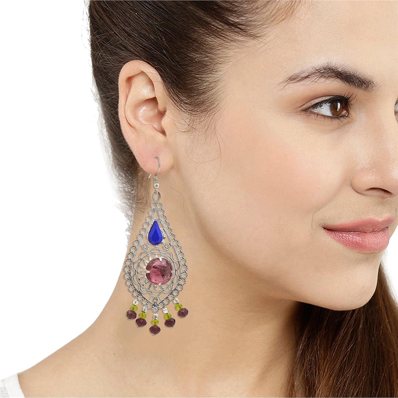 Oreleaa Earrings Glass Beaded Filigree Work Golden Metal Dangle Leaf Shaped for Girls and Women