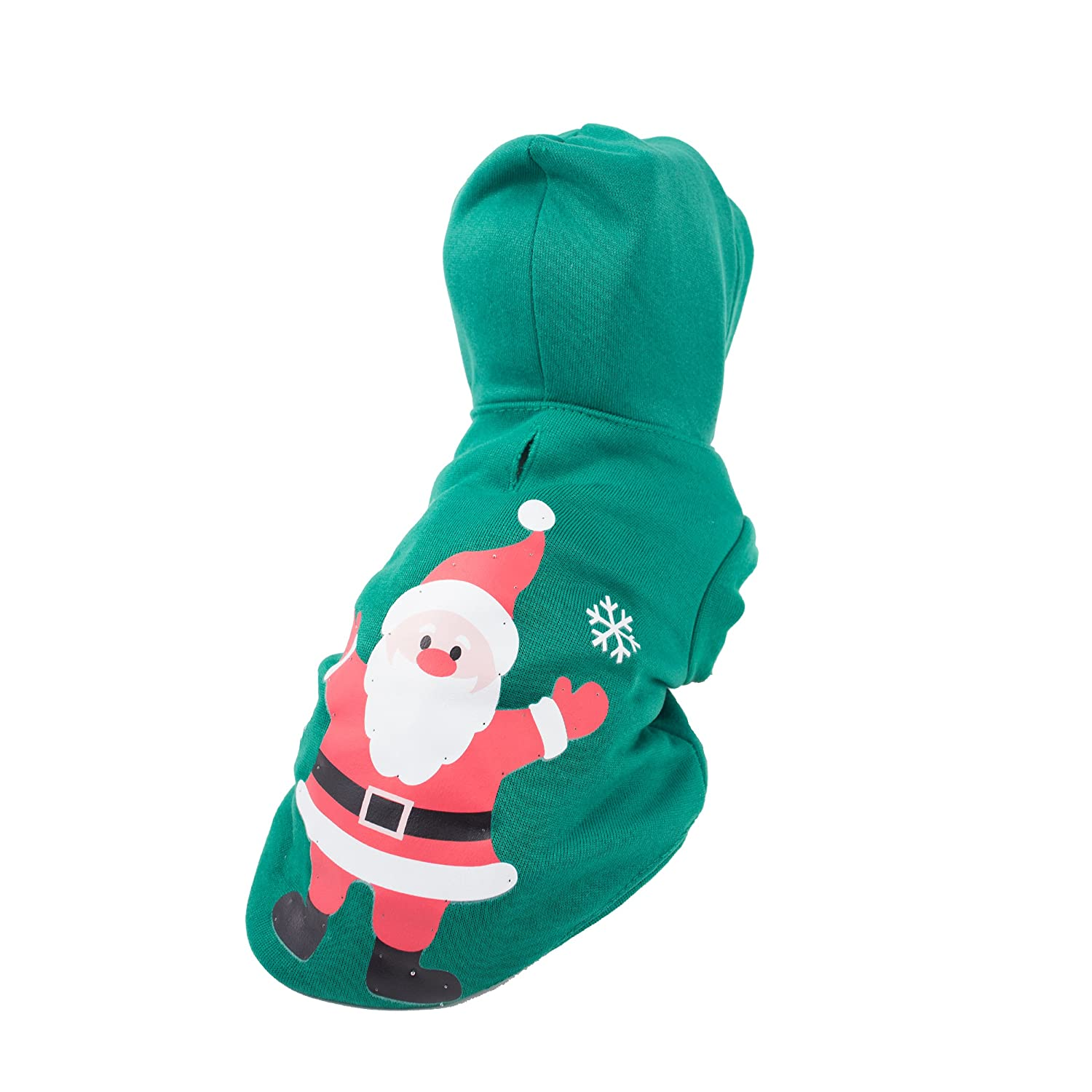 Green X-Small PET LIFE Hands Up Santa LED Lighting Fashion Designer Holiday Christmas Pet Dog Costume Sweater Hoodie w//Included Batteries