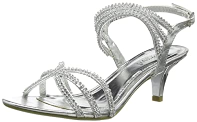 Absolutely Gorgeous Boutique New Silver Diamante MID Heel Prom Evening Wedding  Shoes Sandals UK 3 4