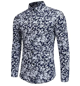 ac3f208a3 Mens Funky Floral Printed Shirt Long Sleeve Casual Linen Shirt:  Amazon.co.uk: Clothing