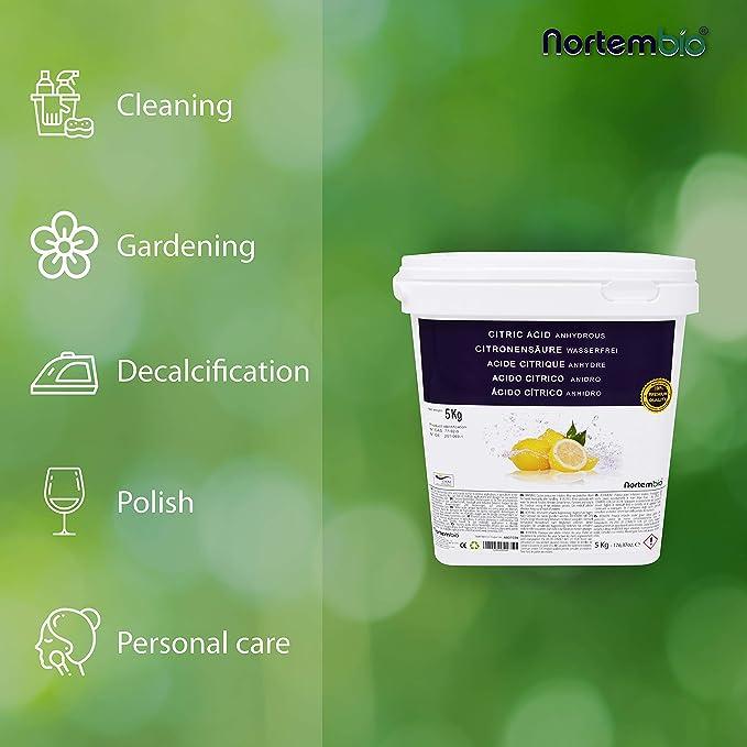 NortemBio Ácido Cítrico 5 Kg, Polvo Anhidro, Natural, 100% Puro, para producción ecológica. Producto CE.: Amazon.es: Hogar
