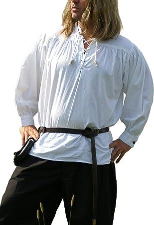 Battle Merchant Camisa Medieval, de Color Blanco de algodón Larp – Vikingo – Gothic – Camisa Pirata: Amazon.es: Deportes y aire libre