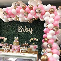 LELE Pink Balloon Arch Garland Kit - 115 Pcs White Pink Gold and Gold Confetti Latex Balloons for Baby Shower Wedding…
