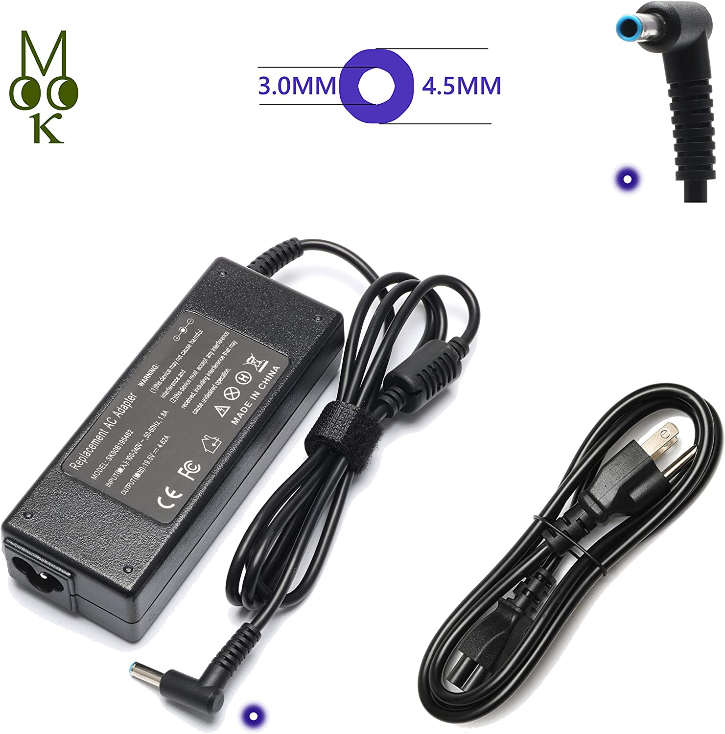 90W AC Adapter Laptop Charger for HP Pavilion 11 14 15 17 17-e119wm Envy Touchsmart Sleekbook 15 17 M6 M7 M6-k010dx M7-j020dx HP Spectre X360 13 15 HP EliteBook Folio 1040 Power Supply Cord 741727-001